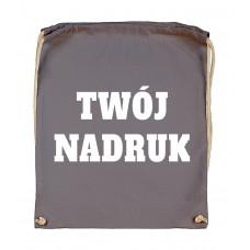 Bawełniany plecak ze sznurkiem DARK GREY z Twoim nadrukiem