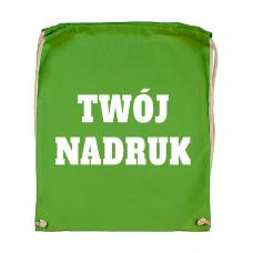 Bawełniany plecak ze sznurkiem LIGHT GREEN z Twoim nadrukiem