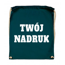 Bawełniany plecak ze sznurkiem PETROL z Twoim nadrukiem