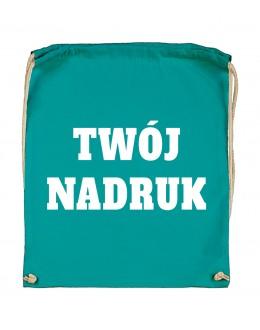 Bawełniany plecak ze sznurkiem TURQUOISE z Twoim nadrukiem