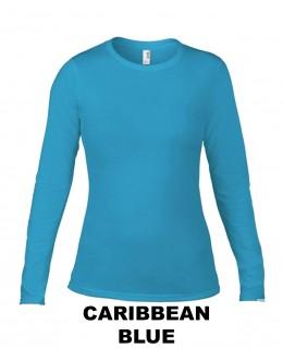 Damska koszulka z długim rękawem Fashion CARIBBEAN BLUE