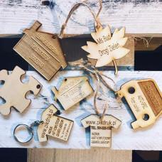 Drewniane breloki/zawieszki do kluczy