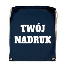 Bawełniany plecak ze sznurkiem DARK BLUE z Twoim nadrukiem