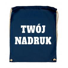 Bawełniany plecak ze sznurkiem INDIGO BLUE z Twoim nadrukiem
