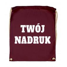 Bawełniany plecak ze sznurkiem BURGUNDY z Twoim nadrukiem